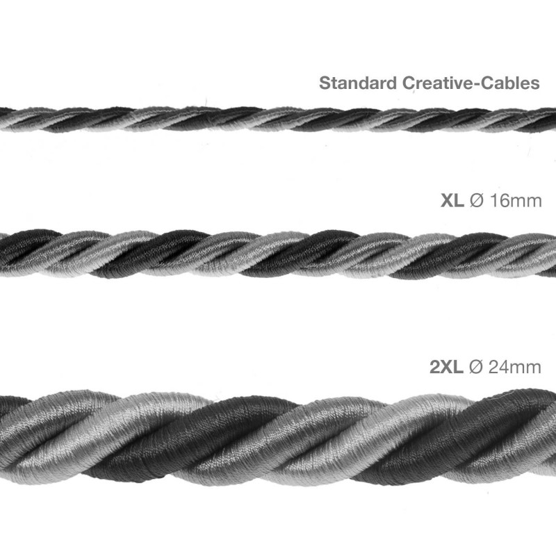XL ledning 3x0,75. Betrukket med lyst stof – Orleans. Diameter 16mm.