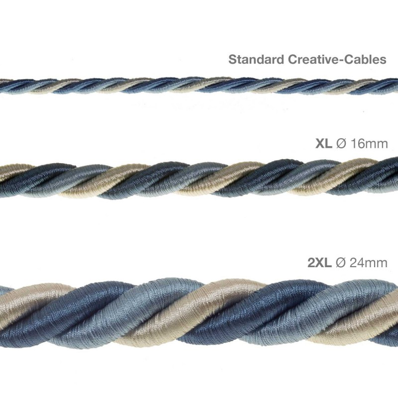 2XL ledning 3x0,75. Betrukket med lyst stof – Bernadotte. Diameter 24mm.