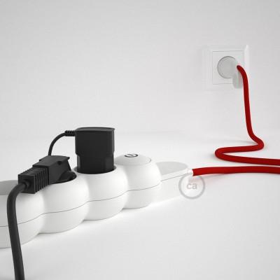 Stikdåsepanel med ledning dækket med viskose Rød stof RM09 og Schuko-stik med komfortring