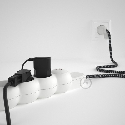 Stikdåsepanel med ledning dækket med 3D effect stof RT41 Stars og Schuko-stik med komfortring