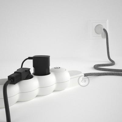 Stikdåsepanel med ledning dækket med Grå Hør stof RN02 og Schuko-stik med komfortring