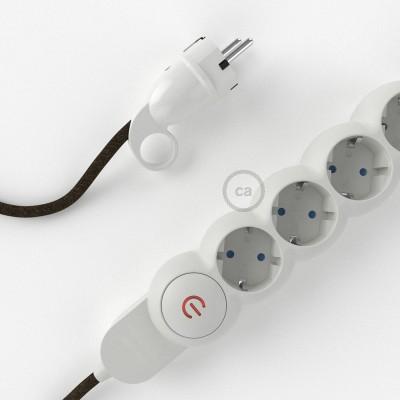 Stikdåsepanel med ledning dækket med Brun Hør stof RN04 og Schuko-stik med komfortring