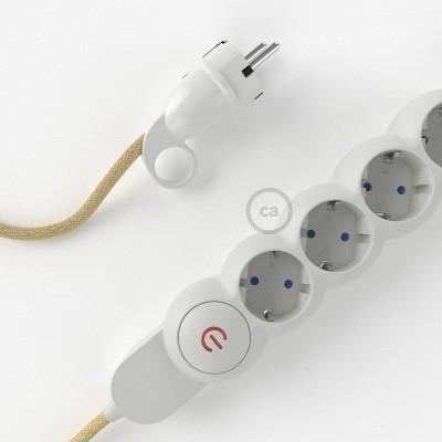 Stikdåsepanel med ledning dækket med Jute RN06 og Schuko-stik med komfortring