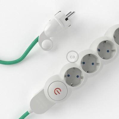 Stikdåsepanel med ledning dækket med viskose Opal stof RH69 og Schuko-stik med komfortring