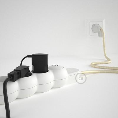 Stikdåsepanel med ledning dækket med viskose Elfenben stof RM00 og Schuko-stik med komfortring