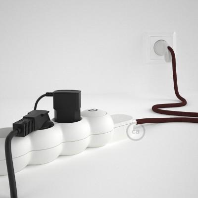 Stikdåsepanel med ledning dækket med viskose Bordeaux stof RM19 og Schuko-stik med komfortring