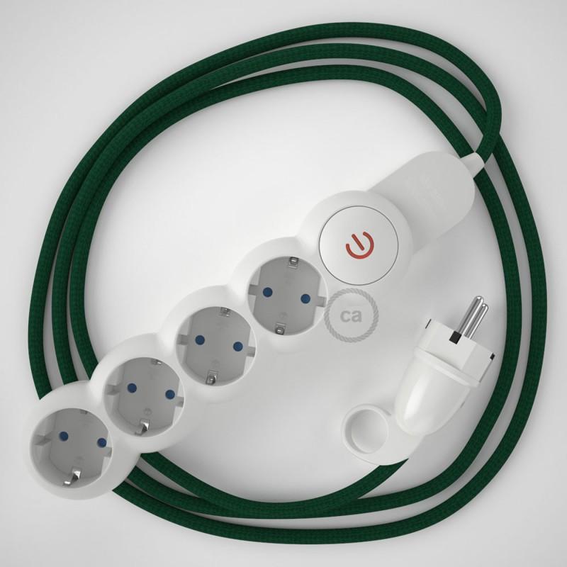 Stikdåsepanel med ledning dækket med viskose Mørkegrøn stof RM21 og Schuko-stik med komfortring