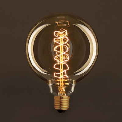 Gylden Vintage Globe lyskilde G125 Carbon Filament Spiral 30W E27 dæmpbar 2000K