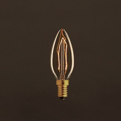 Vintage Gylden Candle lyskilde C35 Carbon Filament ZigZag 30W E14 Dæmpbar 2000K