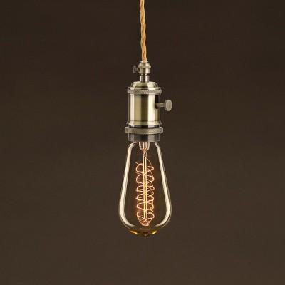 Vintage Gylden Edison ST58 lyskilde Carbon Filament dobbelt spiral 30W E27 dæmpbar 2000K