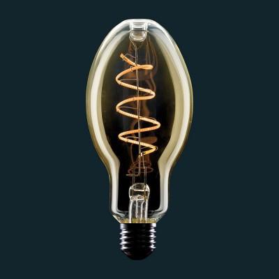 Gylden LED-pære E75 Candle Kurvet Filament Spiral Kurvet 4W E27 Dæmpbar 2000K