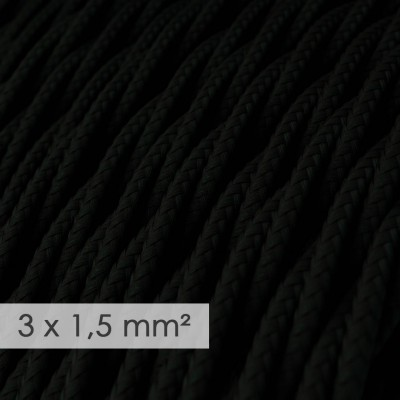 Kraftig ledning 3x1,50 snoet - beklædt med Viskose Sort TM04