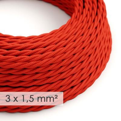 Kraftig ledning 3x1,50 snoet - beklædt med Viskose Rød TM09