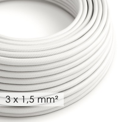 Kraftig ledning 3x1,50 rund - beklædt med Viskose Hvid RM01
