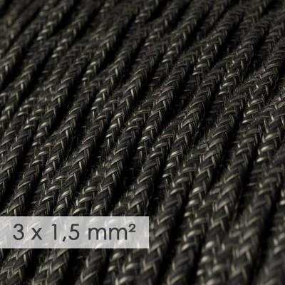 Kraftig ledning 3x1,50 snoet - beklædt med Naturlig Antracit Hør TN03