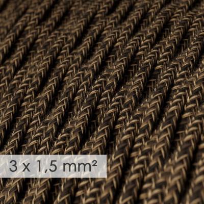 Kraftig ledning 3x1,50 snoet - beklædt med Naturlig Brun Hør TN04