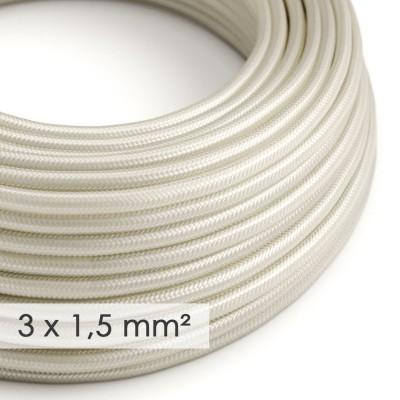 Kraftig ledning 3x1,50 rund - beklædt med Viskose Elfenben RM00
