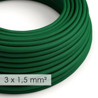 Kraftig ledning 3x1,50 rund - beklædt med Viskose Mørkegrøn RM21