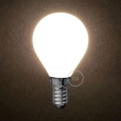 LED Mælkehvid Pære - Miniglobe G45 - 4W E14 Dæmpbar 2700K