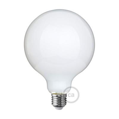 LED Mælkehvid Pære - Globe G125 - 8W E27 Dæmpbar 2700K