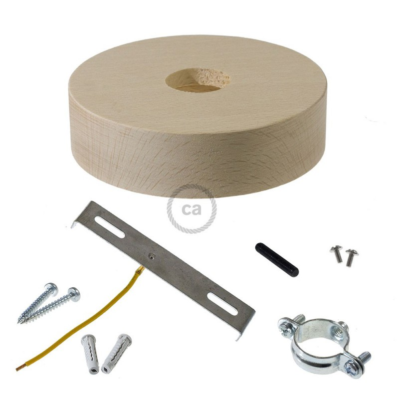 Wooden ceiling rose kit for 3XL cord