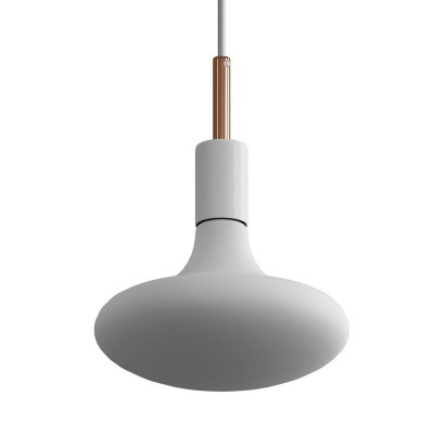 Pendant lamp with textile cable, metal details and 7cm cable clamp - Made in Italy