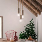 Pendant lamp with nautical cord XL and large bark lamp holder - Made in Italy