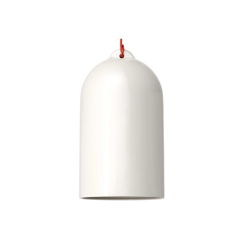 Pendant lamp with textile cable and Bell XL ceramic lampshade - Made in Italy