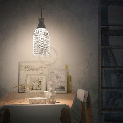 Pendant lamp with textile cable, Jéroboam bottle lampshade and metal details - Made in Italy