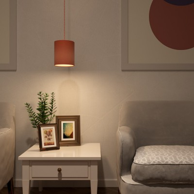 Pendant lamp with textile cable, Cylinder fabric lampshade and metal details - Made in Italy
