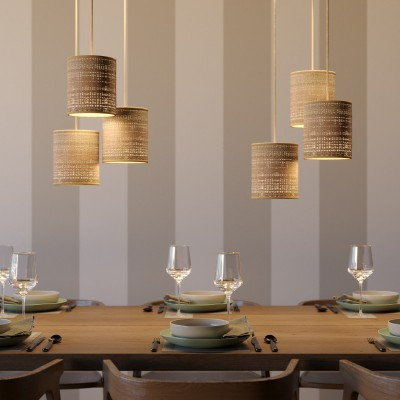 Pendant lamp with textile cable, raffia Cylinder lampshade and metal details - Made in Italy