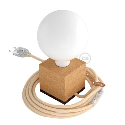 MoCo Posaluce Cubetto in natural cork complete with fabric cable, switch and 2-pin plug