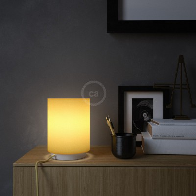 Posaluce in metal with Bright Yellow Cilindro lampshade, complete with fabric cable, switch and 2-pin plug
