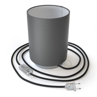 Posaluce in metal with Penguin Electra Cilindro lampshade, complete with fabric cable, switch and 2-pin plug