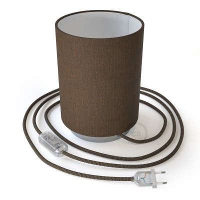 Posaluce in metal with Brown Camelot Cilindro lampshade, complete with fabric cable, switch and 2-pin plug