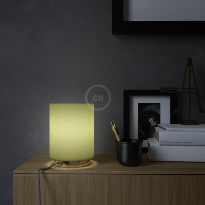 Posaluce in metal with Olive Green Canvas Cilindro lampshade, complete with fabric cable, switch and 2-pin plug