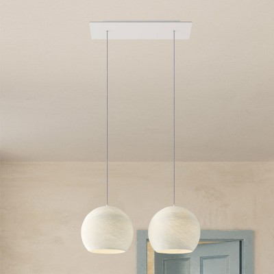 2-light pendant lamp with 675 mm rectangular XXL Rose-One, featuring fabric cable and Dome M lampshade
