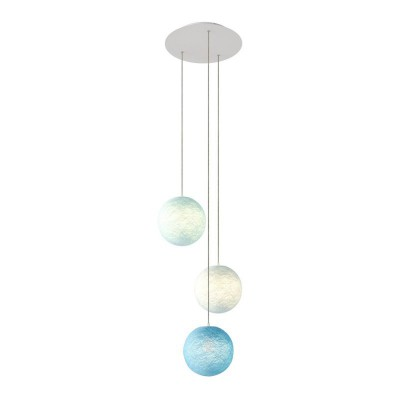 3-light pendant lamp with 400 mm round XXL Rose-One, featuring fabric cable and Sphere XS lampshade