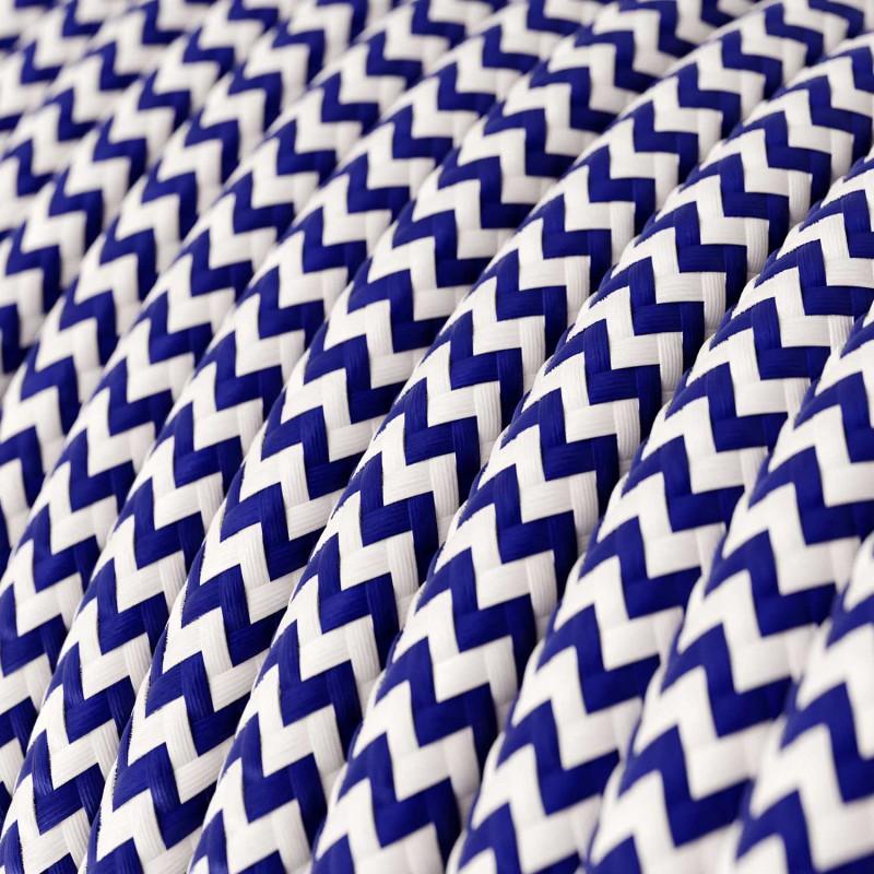 Rund tekstilledning i viskose - ZigZag RZ12 Blå