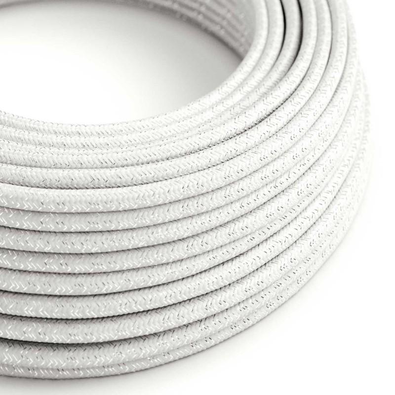 Rund glimmer tekstilledning i viskose - RL01 Hvid
