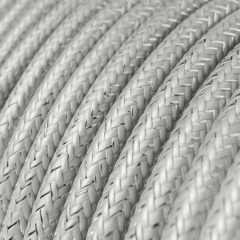 Rund glimmer tekstilledning i viskose - RL02 Sølv