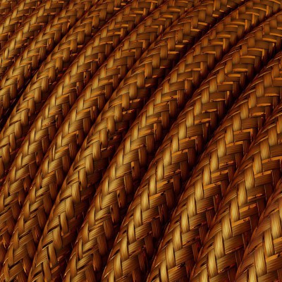 Rund glimmer tekstilledning i viskose - RL22 Kobber