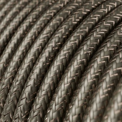 Rund glimmer tekstilledning i viskose - RL03 Grå