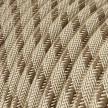 Rund tekstilledning i farvet Bark Stribet bomuld og hør - RD53