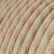 Rund tekstilledning i Gammelrosa Stribet bomuld og hør - RD51