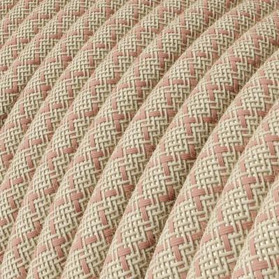 Rund tekstilledning i Gammelrosa Lozenge bomuld og hør - RD61
