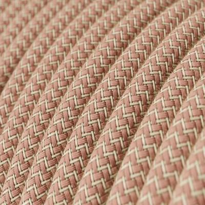 Rund tekstilledning i Gammelrosa ZigZag bomuld og hør - RD71
