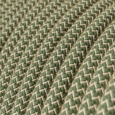 Rund tekstilledning i Timiangrøn ZigZag bomuld og hør - RD72
