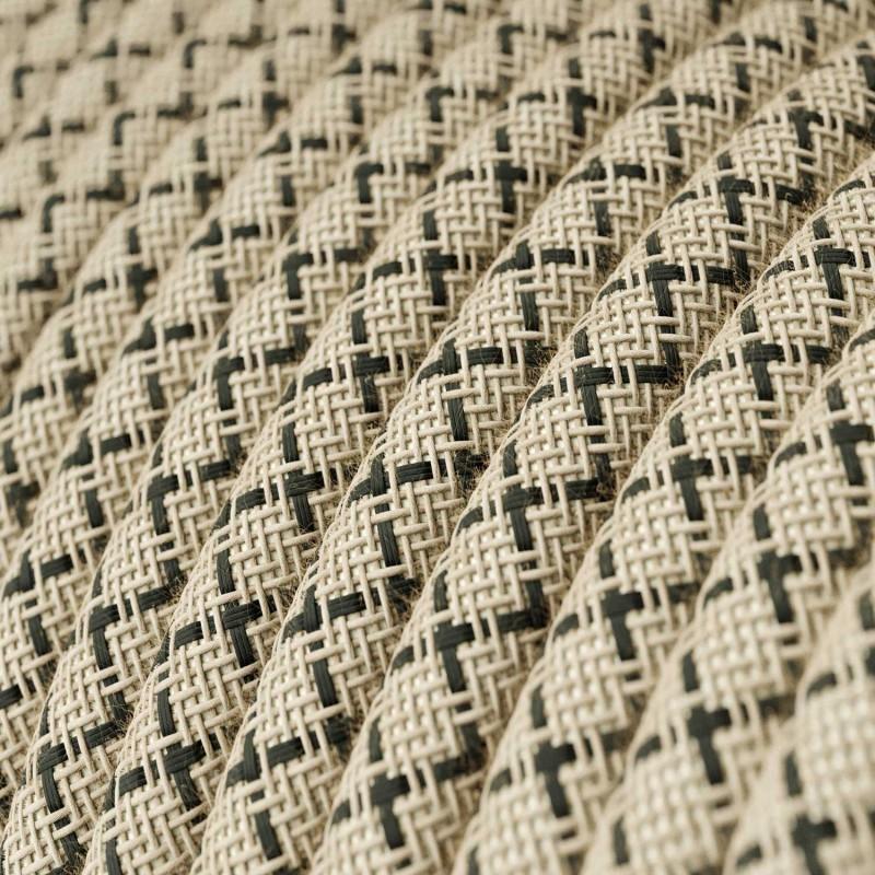 Rund tekstilledning i Antracit Lozenge bomuld og hør - RD64