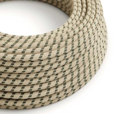 Rund tekstilledning i Antracit Stribet bomuld og hør - RD54